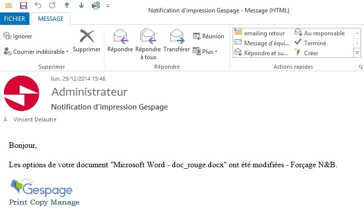 Notification par email Gespage