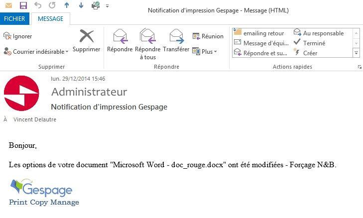 Notification par email Gespage