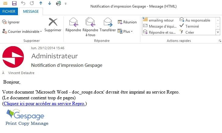 Notification suggestion par email Gespage